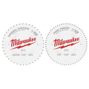 Milwaukee 10 In 40t And 60t Two Pack Circular Saw Blades 48 40 1036 New