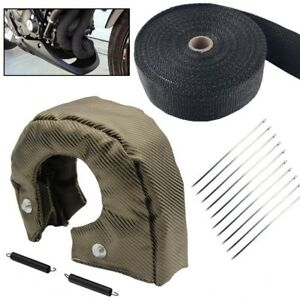 T4 Titanium Turbo Heat Shield Blanket Cover 2 50ft Exhaust Header Wrap Tape B
