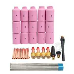 46 Pcs Tig Welding Kit Gas Lens For Tig Welding Torch For Wp 17 Wp 18 Wp 26