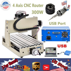 Usb 4axis Cnc 3020 Router Engraving 300w Mill Wood Metal 3d Carving Cutter