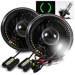 7 Round Semi seal Black Housing Green Led Projector Headlights 6000k H4 2 Hid