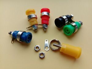 100 X Binding Post Banana Jack For 4mm Safety Protection Plug 5 Color With Screw