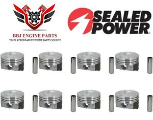 Chevy Chevrolet 350 5 7 Sealed Power Hypereutectic Dish Top Pistons 8 68 95