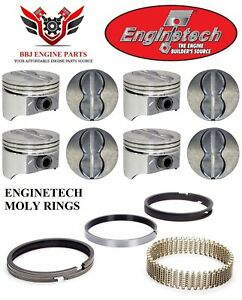 Enginetech Chevrolet 350 5 7 Sbc V8 Flat Top Pistons And Moly Rings 67 95