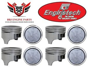 Chevy Chevrolet 400 Small Block Sbc Enginetech Dish Top Pistons 8 1970 1980