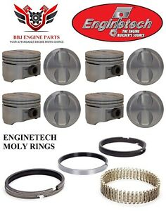 Chevrolet 305 5 0 Sbc Enginetech Dish Top Pistons 8 And Piston Rings 1996 2002