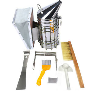 6pcs set Beekeeping Tool Kit Stainless Steel Smoker Bee Hive Tools Bee Brush