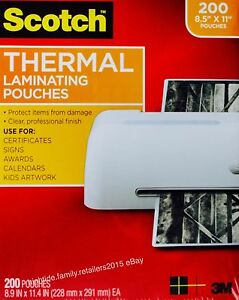 Scotch Thermal Laminating Pouches Letter Size 3 Mil 8 5 X 11 Inches 200 Sheets