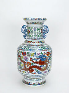 Large Chinese Doucai Dragon And Phoenix Floral Porcelain Vase