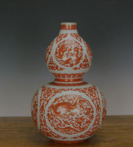 Superb Finely Painted Chinese Coral Red Dragon Double Gourd Porcelain Vase