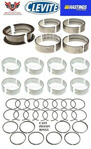 Clevite Hastings Amc Jeep 290 304 V8 Rod Main Bearings With Piston Rings 66 81