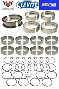 Clevite Hastings Amc Jeep 390 401 V8 Rod Main Bearings With Piston Rings 71 78