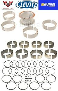 Chevy Sbc 350 5 7 Clevite Rod And Main Bearings With Hasting Moly Rings 96 02