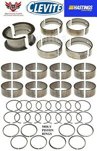 Chevy Bbc 427 454 Clevite Rod Main Bearings And Hastings Moly Piston Rings 70 90