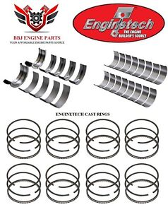 Enginetech Amc Jeep 343 360 V8 Rod And Main Bearings With Piston Rings 67 91
