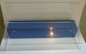 Clear Acrylic 2 Tier Countertop Display W blue Base Lucite 23 l X 10 d X 11 h