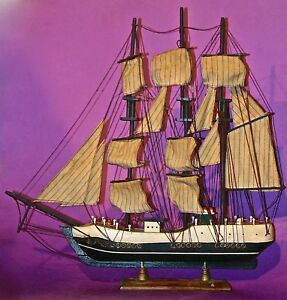 1950 Antique Lovely Sailing Ship Wooden Model Good Condition 20 Three Masts