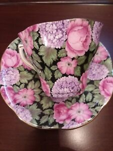 Rosina Cup Saucer Chintz Roses Pink Purple Green England