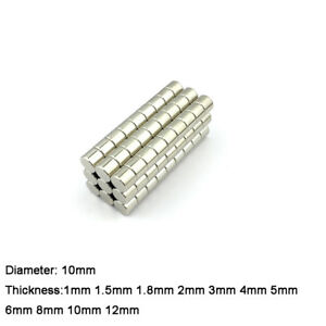 10mm Dia Small Magnet Neodymium Strong Craft Magnetic Disk 1mm To12mm Thick