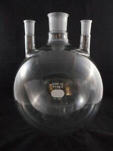 Pyrex Glass 12000ml Round Bottom Flask 3 neck Two 29 42 One 55 50 St 4960 12l
