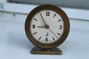 Antique Old French Made Charming Bronze Art Deco Alarm Clock Jaz