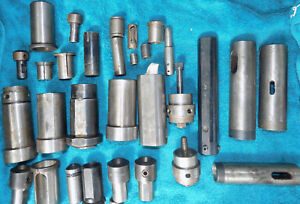 Four 1 3 4 Dia To 5c Collet Holders With Assorted Extra Tooling Nuts And Stops