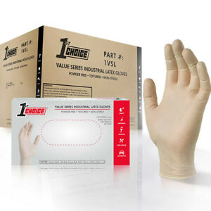 1st Choice Ivory Latex Industrial Powder Free Disposable Gloves case Of 1000