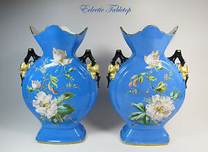 Pair Old Paris Porcelain Hand Painted Moon Vases 13 High