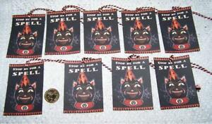 Halloween Primitive Folk Art Witch Cat Linen Cardstock Gift Hang Tags