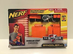 NERF N-STRIKE BANDOLIER KIT WITH STRAP 2 QUICK RELOAD CLIPS 24 DARTS AMMO NEW