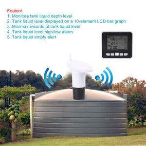 100m Wireless Ultrasonic Water Tank Liquid Level Meter W temperature Sensor Zg