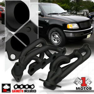 Black Painted Shorty Exhaust Header Manifold For 97 03 Ford F150 f250 5 4 330 V8