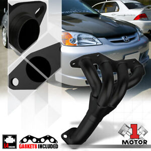 Black Painted 4 1 Exhaust Header Manifold For 01 05 Honda Civic Dx lx 1 7 D17a