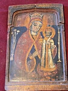 18th Century Antique Greek Orthodox Icon Unrestored Mary And Jesus Egg Tempera