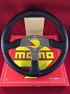 Momo Race 320mm Black Leather Black Stitch Anthracite Steering Wheel Rce32bk1b