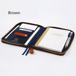 Pu Leather Cover Zipper Bag Style Journal Diy Diary Undated Daily Planner Gift