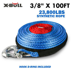 X bull 2 5 x100ft Blue Synthetic Winch Rope Line Recovery Cable 23000lbs 4wd