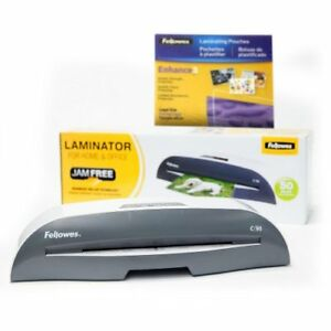 Fellowes 9 Inch Jam Free Laminator W free 50 Pack Letter Size Pouch Starter Kit