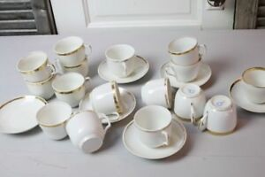 Antique Old Paris French Tea Cups And Saucers Lot White Gold Trim Some Haviland