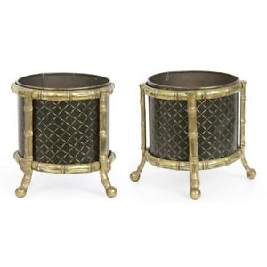 Pair Or Regency Antique Painted Cache Pots Plant Stands English C 19th Century