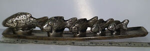Opium Weight Set 5 Graduated Fish Shaped Metal Weights Metal Tray