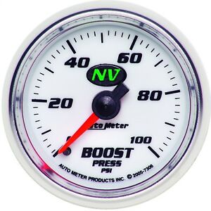 Autometer 7306 Nv Mechanical Boost Gauge White Green Led 0 100 Psi 2 1 16