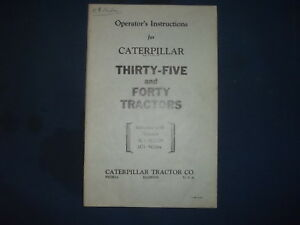 Cat Caterpillar Thirty five Forty Tractor Operation Maintenance Manual 5c 5g
