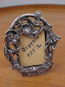 Nouveau Style Photo Frame With Stand Profusely Detailed Sterling Silver Italy