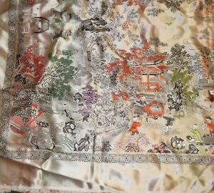 Huge Chinese Silk Embroidered Landscape Tapestry