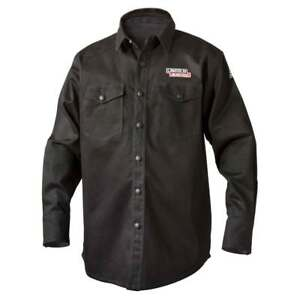Lincoln Electric K3113 9 Oz Fr Black Welding Shirt Large