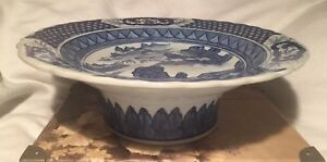Porcelain Chinese Canton Blue And White Hand Painting Hight Foot Fruit Bowl