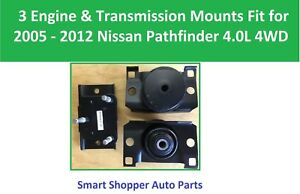 3 Engine Transmission Mount Fit For 2005 2006 2012 Nissan Pathfinder 4 0l 4wd