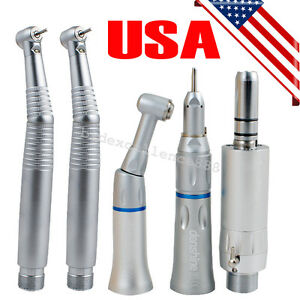 E type Dental Low Speed Handpiece Push Button 2 Hole 2 Led High Speed Handpiece