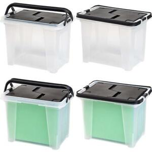Iris Letter Size Portable Wing Lid File Box With Handles 4 Pack Black No Tax